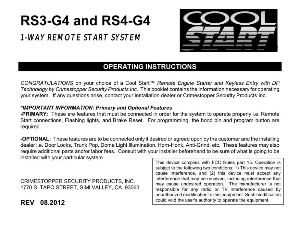 medium resolution of crimestopper rs 4 operating instructions