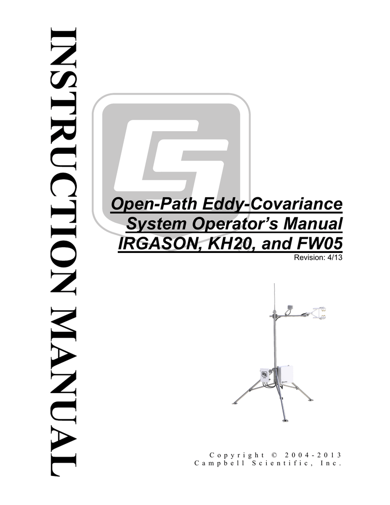 Campbell Open Path Eddy Covariance System Operator`s