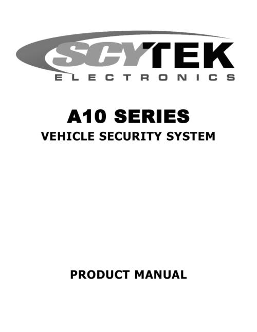 small resolution of  scytek electronic vehicle security system a10 product manual on reverse light wiring diagram scytek car alarm wiring