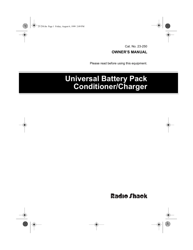 Radio Shack Universal Battery Pack Conditioner/Charger