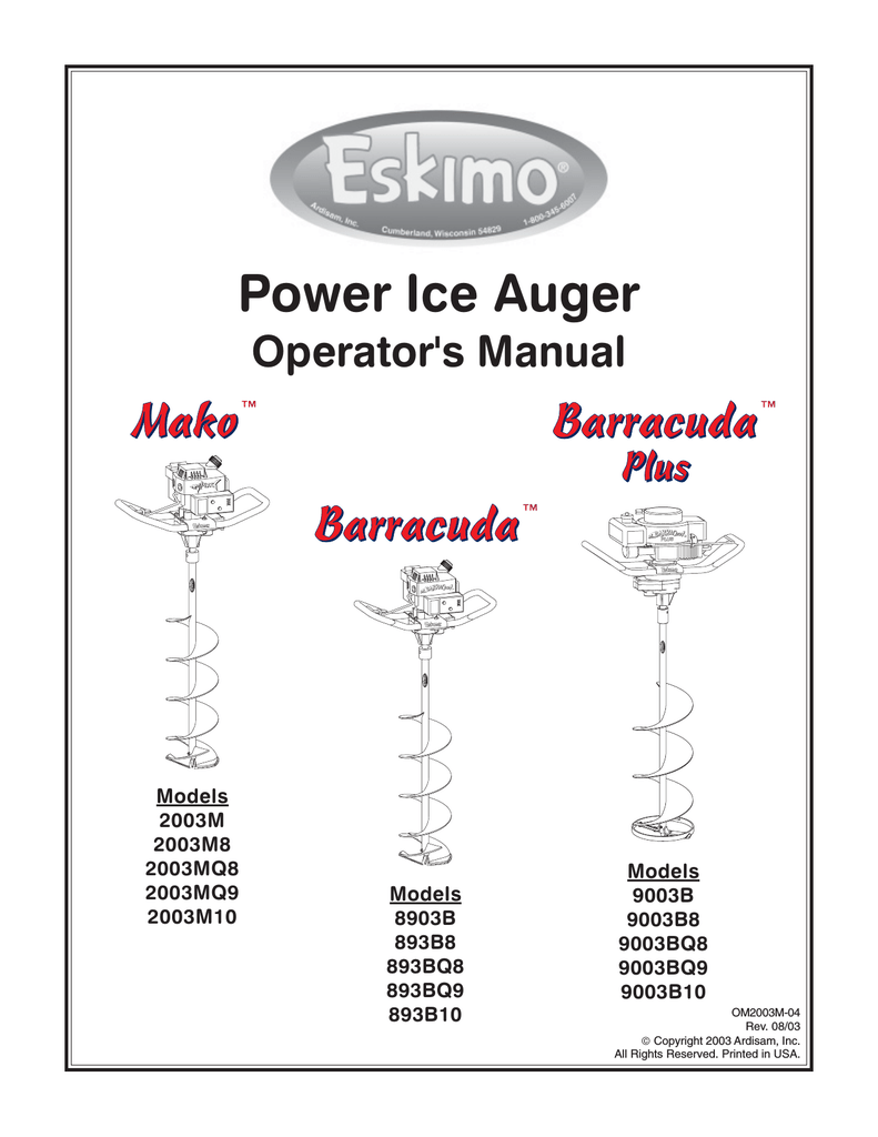[PDF-3714] Eskimo Ice Auger Model 8600 Repair Manual