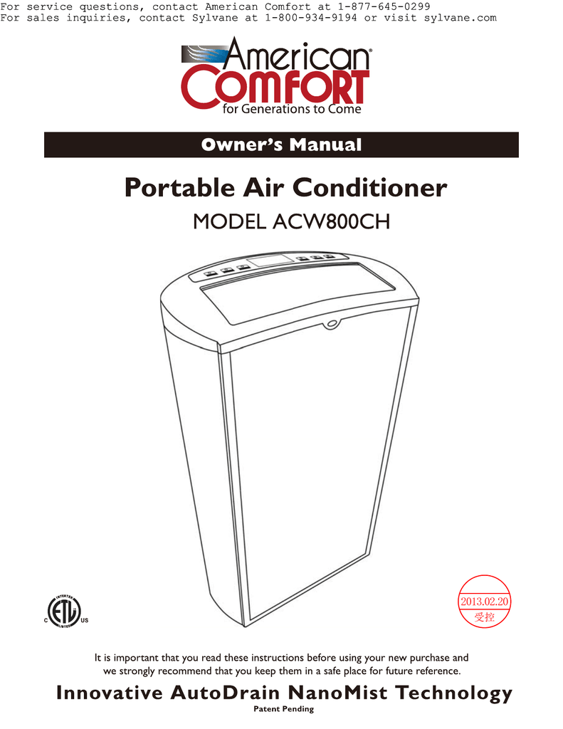 American Comfort Worldwide ACW800CH Specifications