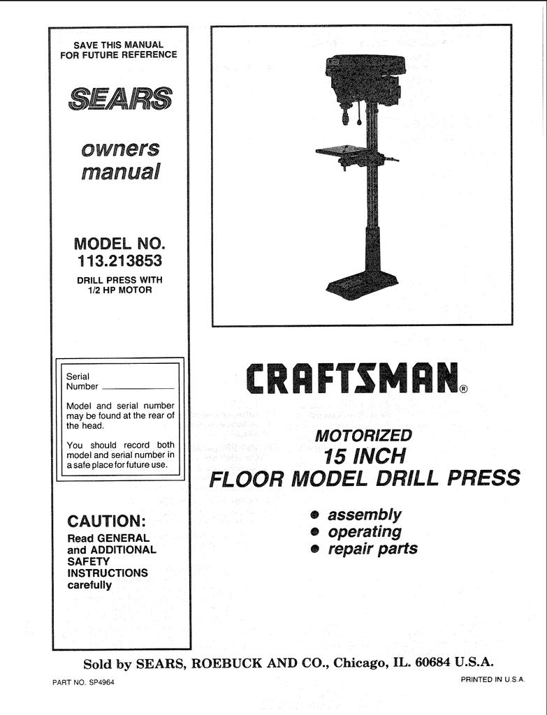 Craftsman 113.213853 Owner`s manual   Manualzz