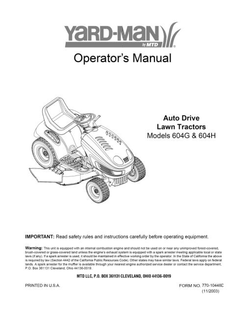 small resolution of yard man 604h operator s manual manualzz com 618 0229 mtd transaxle diagram