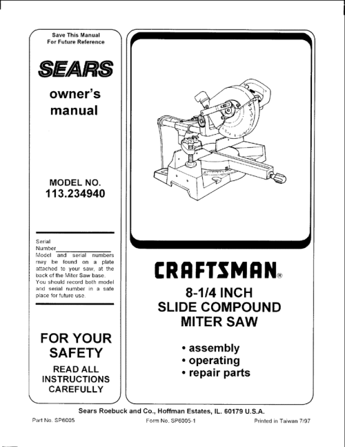 small resolution of craftsman 113 234940 owner s manual