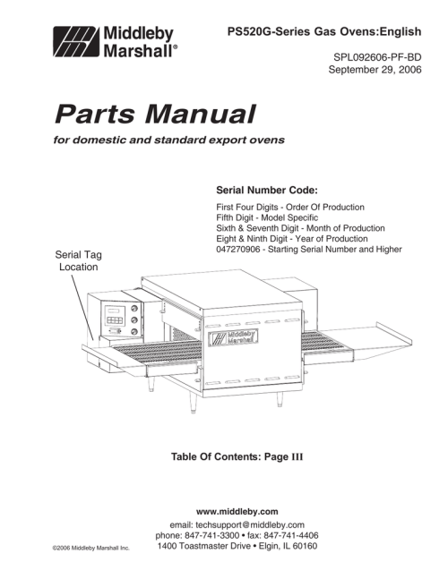 small resolution of ps520g series gas ovens english spl092606 pf bd september 29 2006 parts manual for domestic and standard export ovens serial number code serial tag