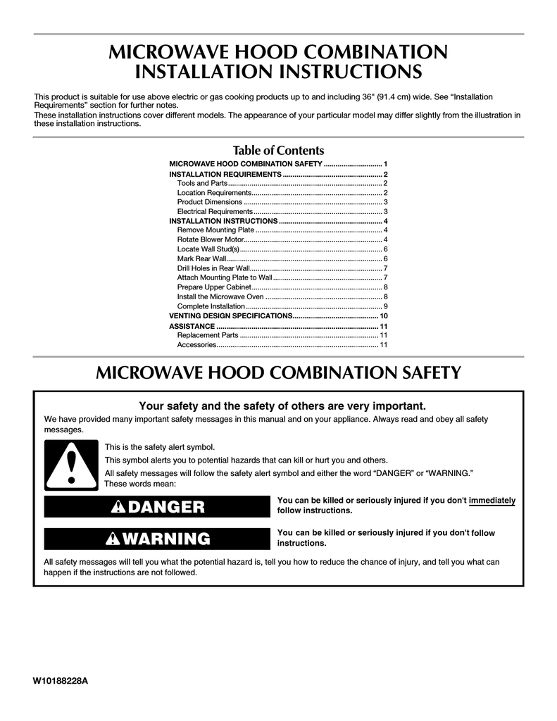 medium resolution of maytag mmv1153aa specifications microwave hood combination installation