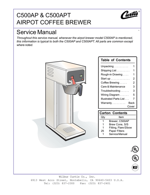 small resolution of curtis c500ap service manual c500ap c500apt airpot coffee brewer
