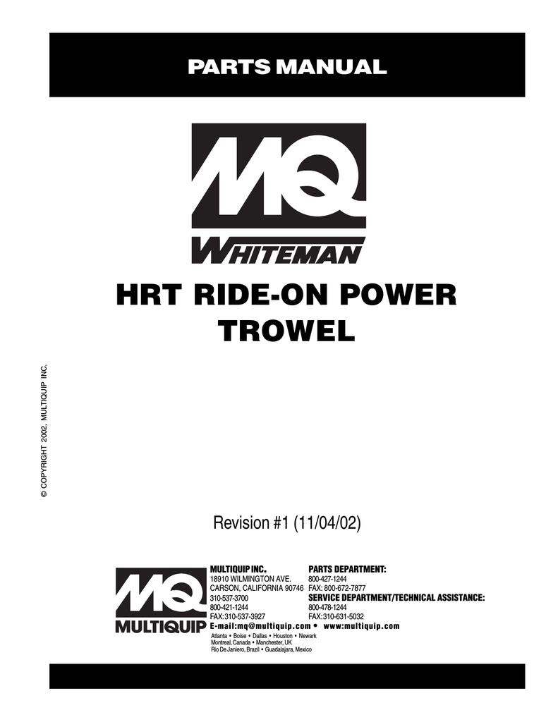 MQ Multiquip HRT Whiteman Mechanical Ride-On Trowel Parts