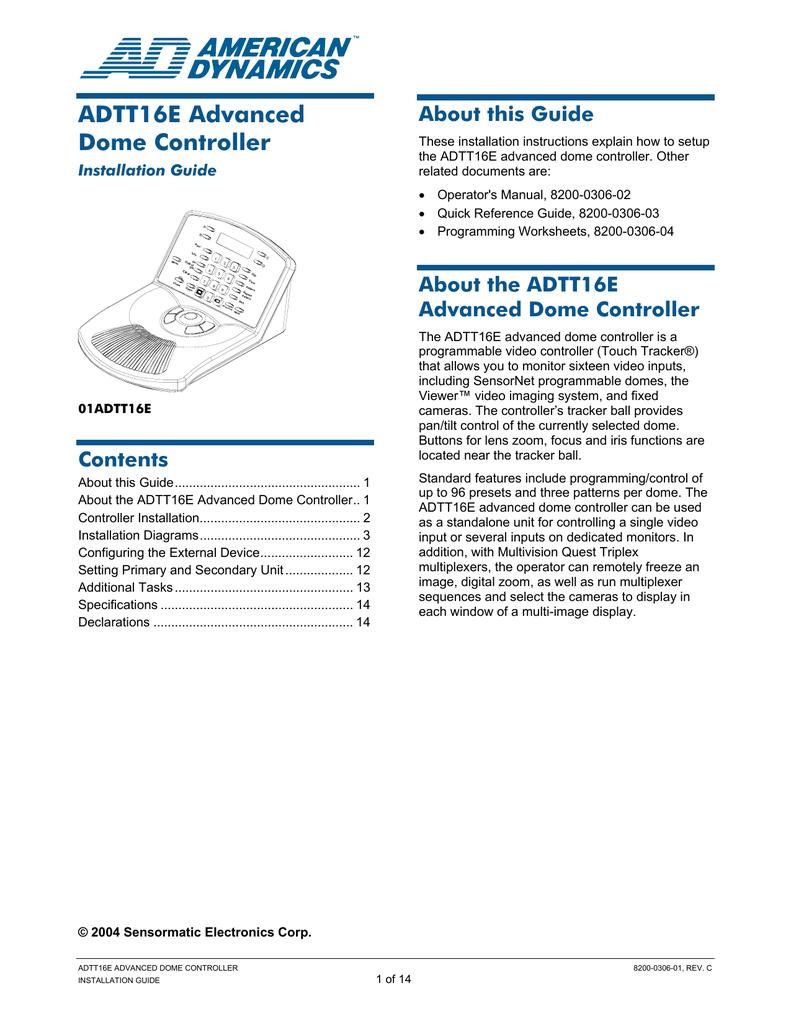 medium resolution of american dynamics adtt16 installation guide