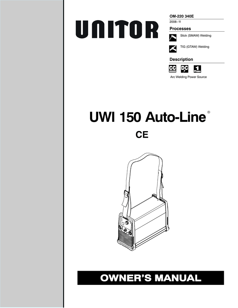 Miller Electric UNITOR UWI 150 Auto-Line Specifications