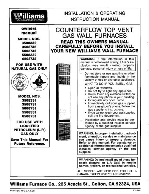 small resolution of williams 3508732 instruction manual installation
