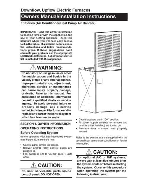 small resolution of miller electric mt 24vf 25 1 operating instructions downflow upflow electric furnaces owners manual installation