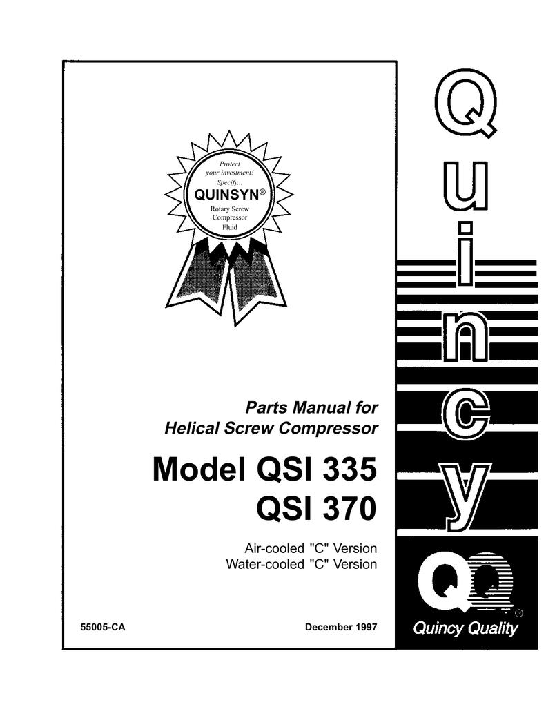 Parts Manual for Helical Screw Compressor Model QSI 335