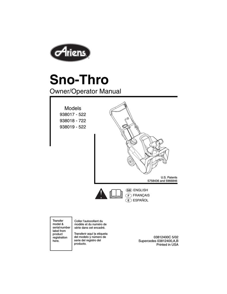 medium resolution of ariens sno thro 938019 522 specifications