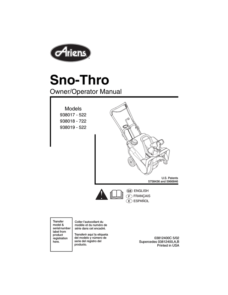 hight resolution of ariens sno thro 938019 522 specifications