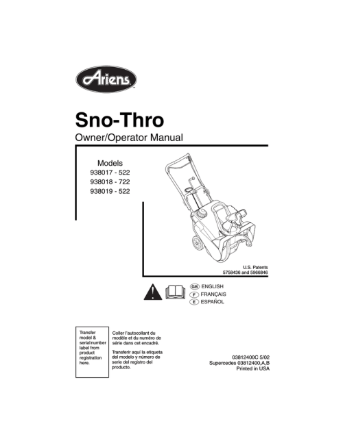 small resolution of ariens sno thro 938019 522 specifications