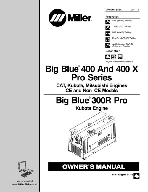small resolution of miller big blue 300 pro series owner s manual manualzz com
