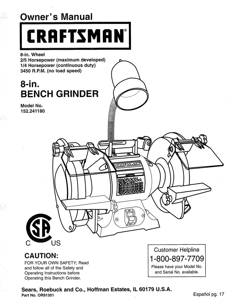 capacitor start motor wiring diagram craftsman location of lymph nodes in armpit for bench grinder database 152 241180 owner s manual manualzz switch