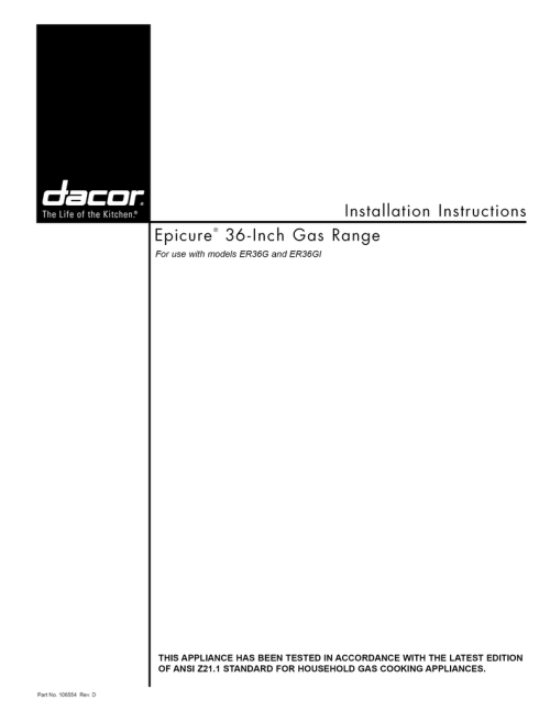small resolution of dacor epicure er36gisch specifications manualzz com dacor stove wiring diagram