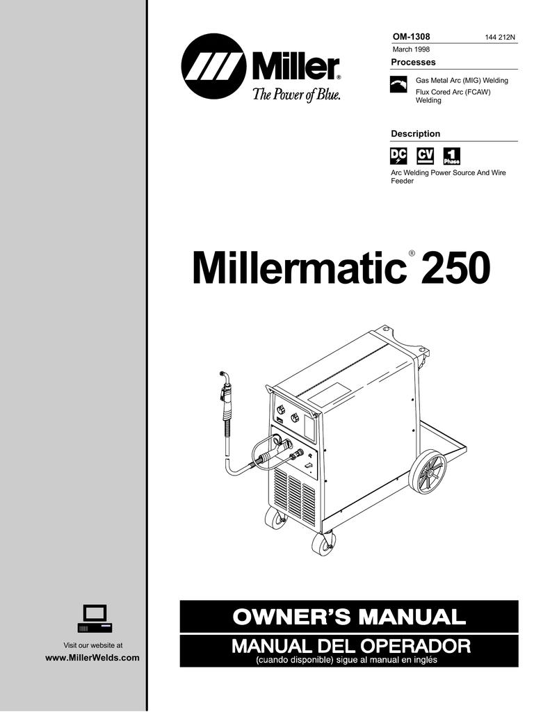 medium resolution of miller millermatic 250x owner s manual