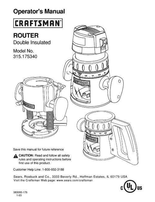 small resolution of craftsman 315 175340 operator s manual