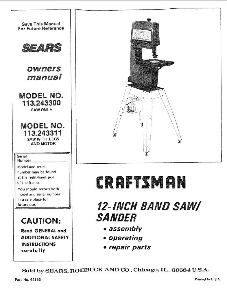 Craftsman 12 Inch Band Saw Sander Parts