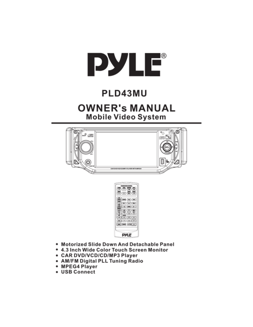 small resolution of pyle audio mobile video system pld41mut owner s manual
