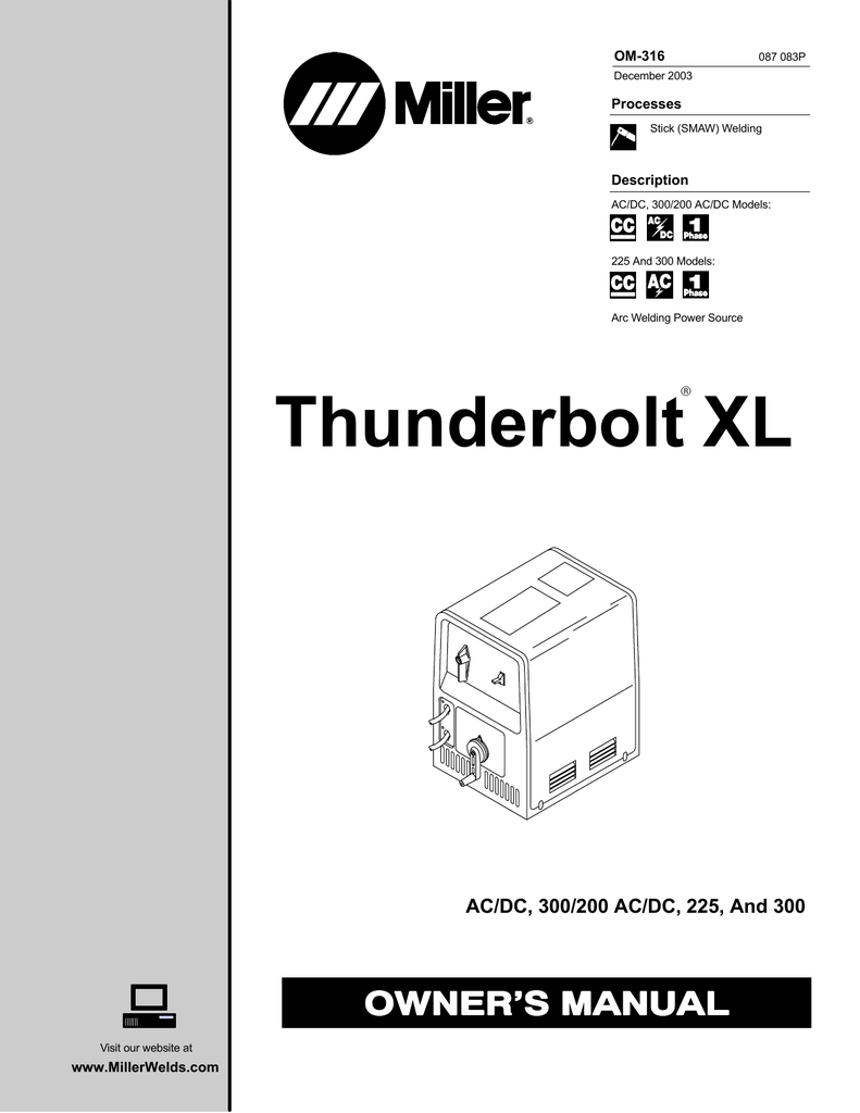 Miller Thunderbolt 225 Owner`s manual