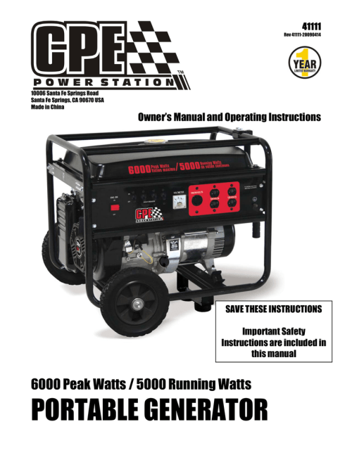 small resolution of champion power equipment 41111 owner s manual