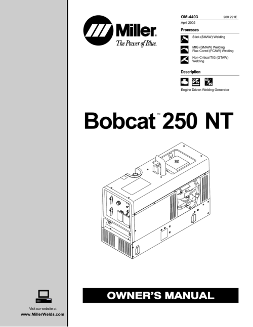 small resolution of miller bobcat 250 nt owner s manual