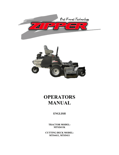 small resolution of zipper mowers mts2611k owner s manual