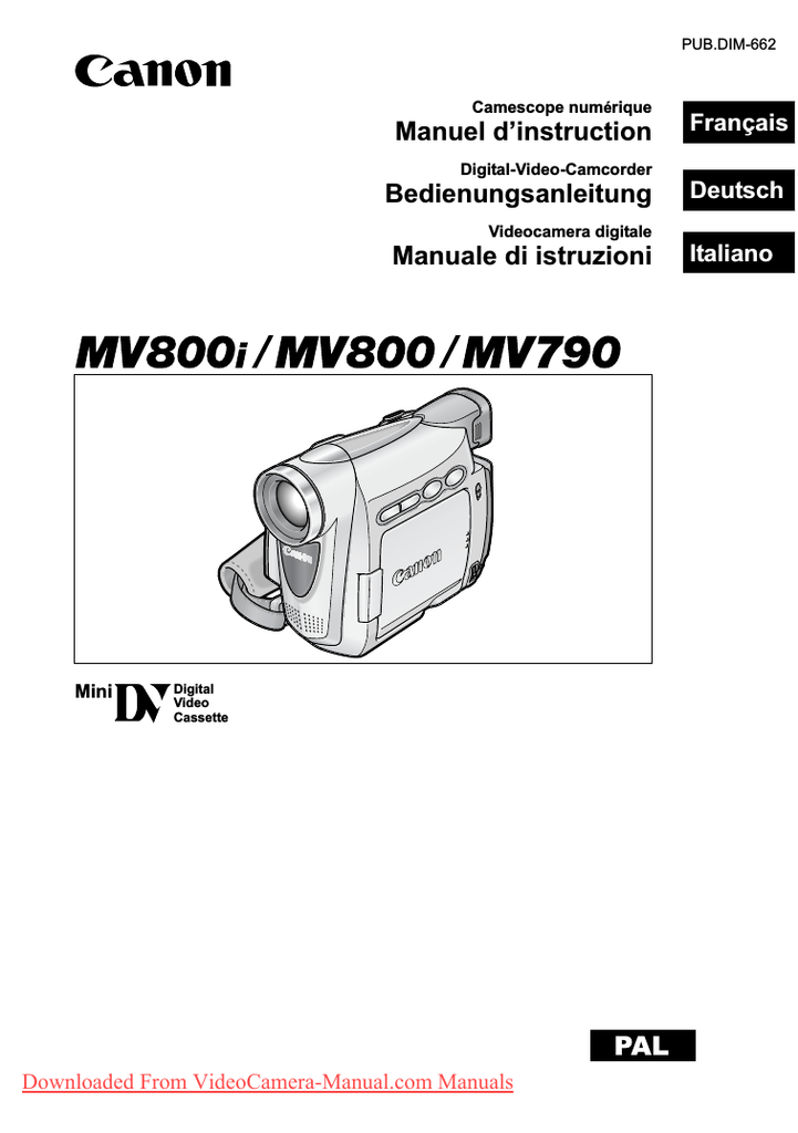 Canon MV800 Camcorder User Guide Manual Operating