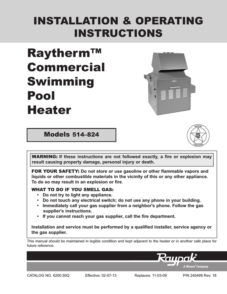 medium resolution of raypak 514 824 operating instructions installation operating instructions raytherm commercial swimming pool heater