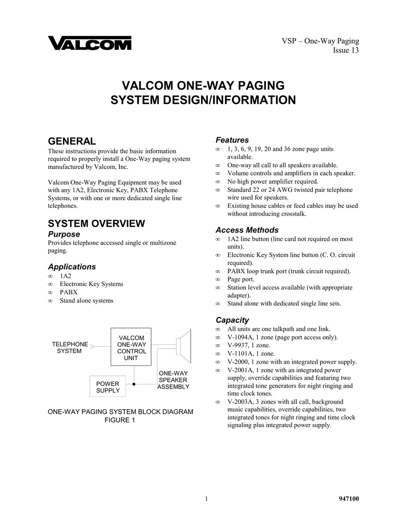 medium resolution of valcom one way paging system design information general