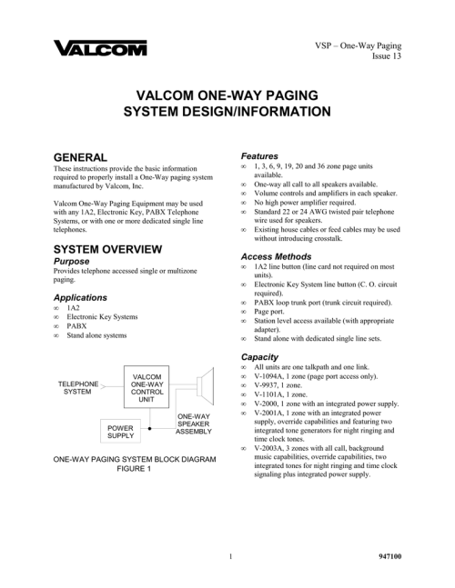 small resolution of valcom one way paging system design information general