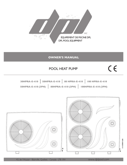 small resolution of dpl pool equipment 100 hpra 410 owner s manual