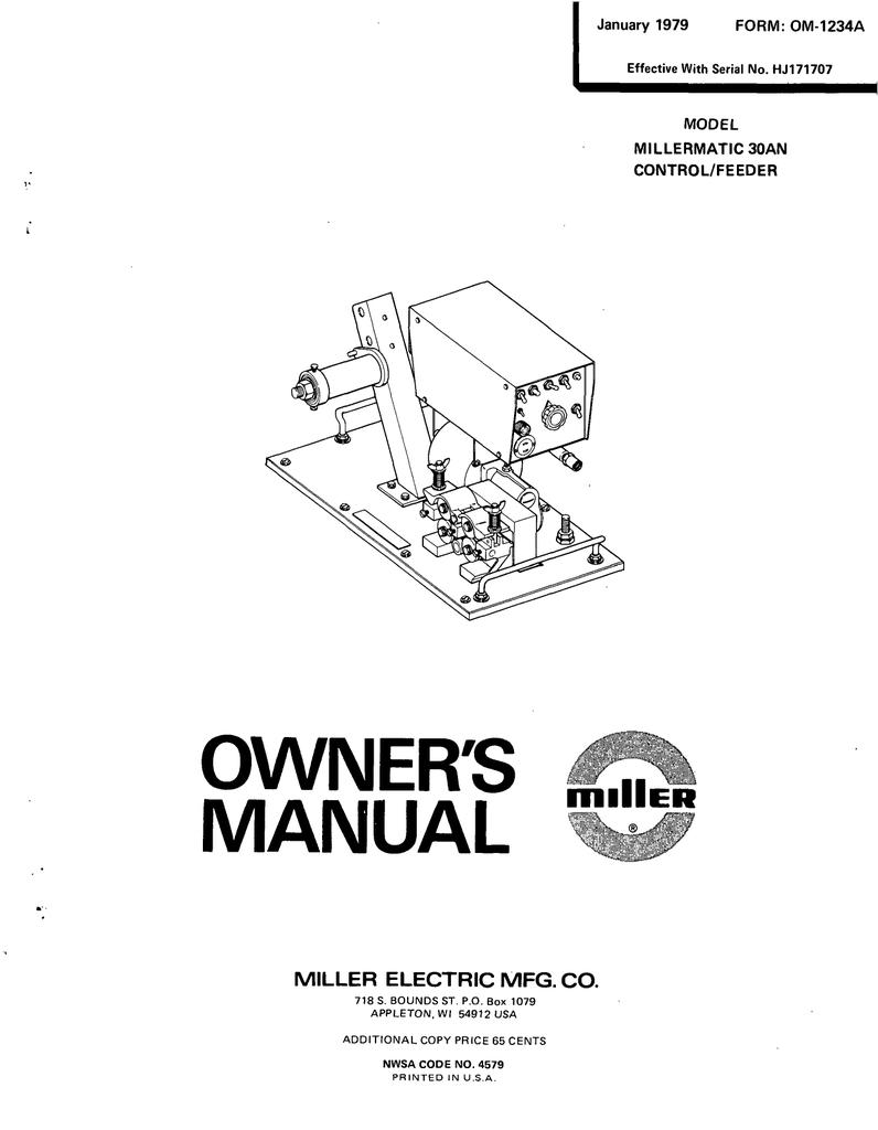 Miller Electric MILLERMATIC 3OAN CONTROL/FEEDER