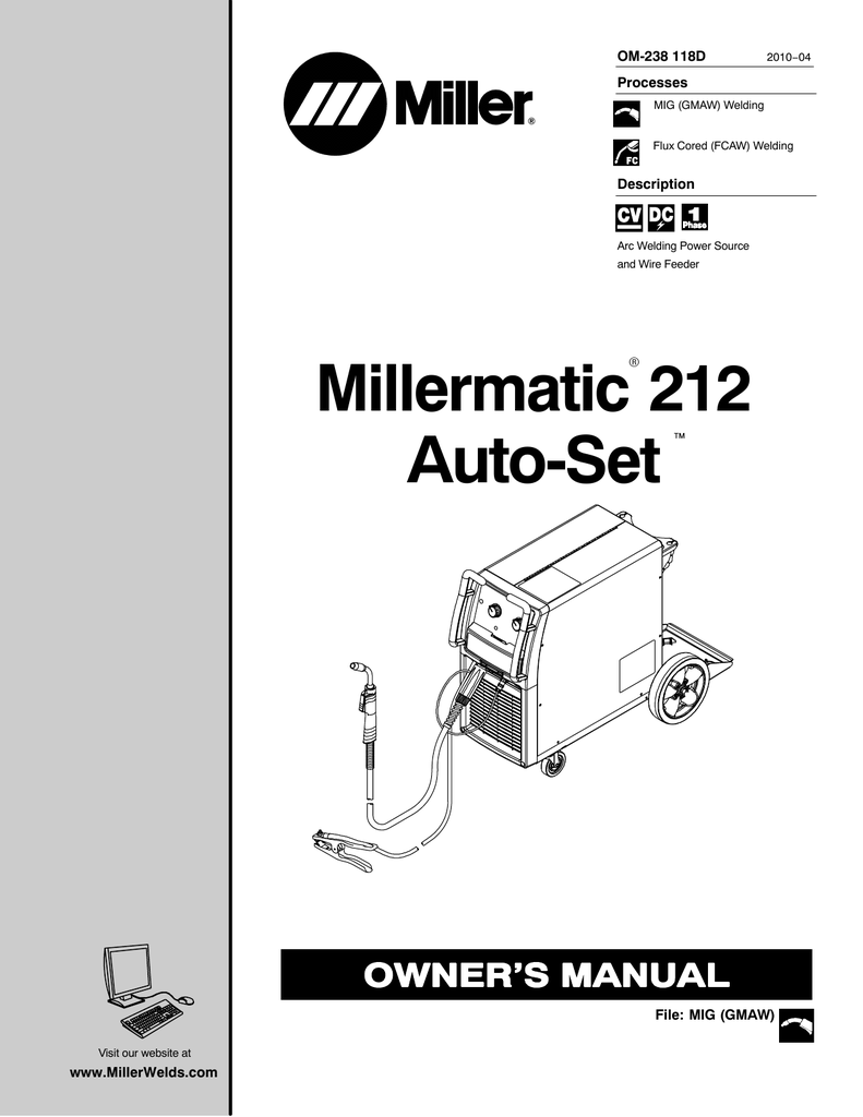 Miller Electric Millermatic 212 Auto-Set Owner's manual