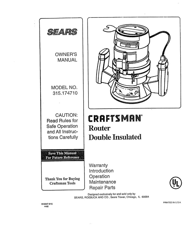 medium resolution of wiring diagram for craftsman router wiring diagram article review craftsman 315 174710 owner s manual