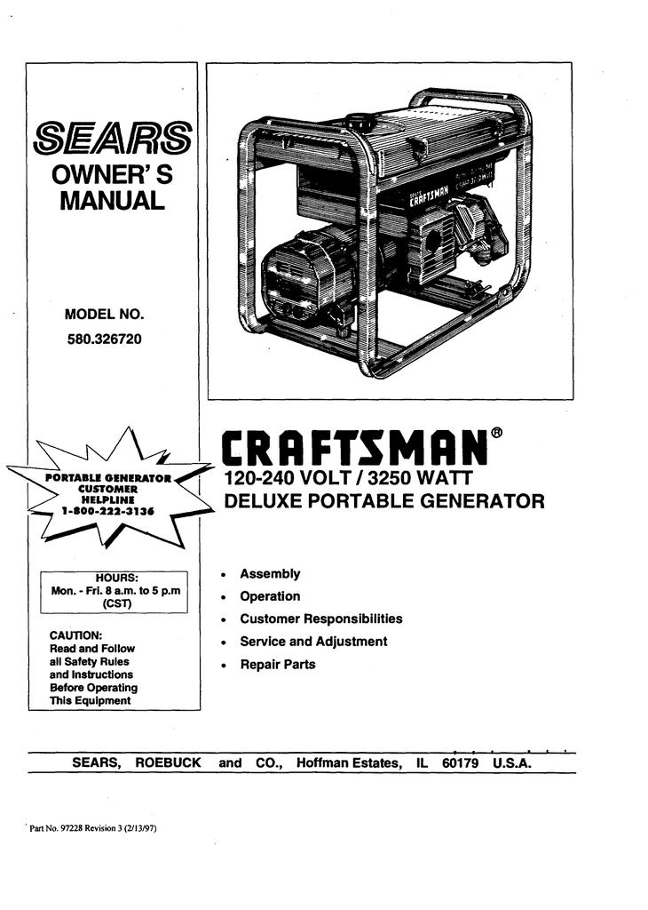 Craftsman 580.326720 Owner`s manual   Manualzz