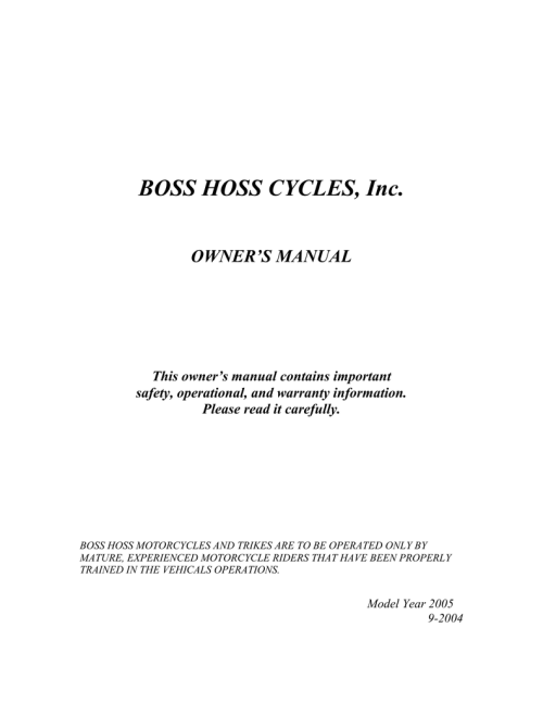 small resolution of boss hoss cycles year 2005 owner s manual manualzz com boss hoss trike wiring diagram