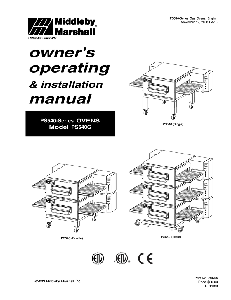 Middleby Marshall PS540 Installation manual