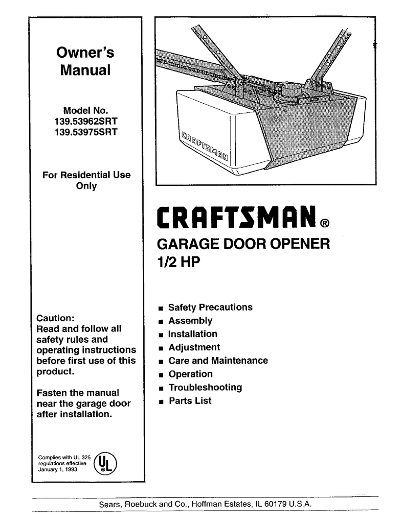 Craftsman 1 2 Hp Garage Door Opener Manual 41ac150 1m