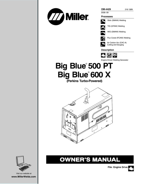small resolution of miller electric big blue 500 pt owner s manual