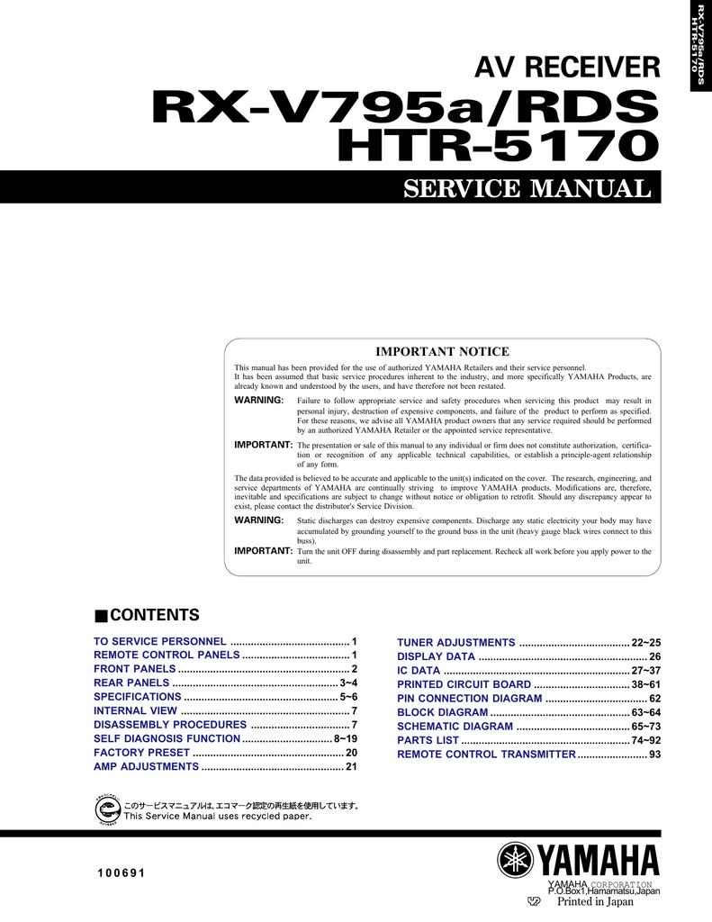 hight resolution of yamaha rx v795a service manual