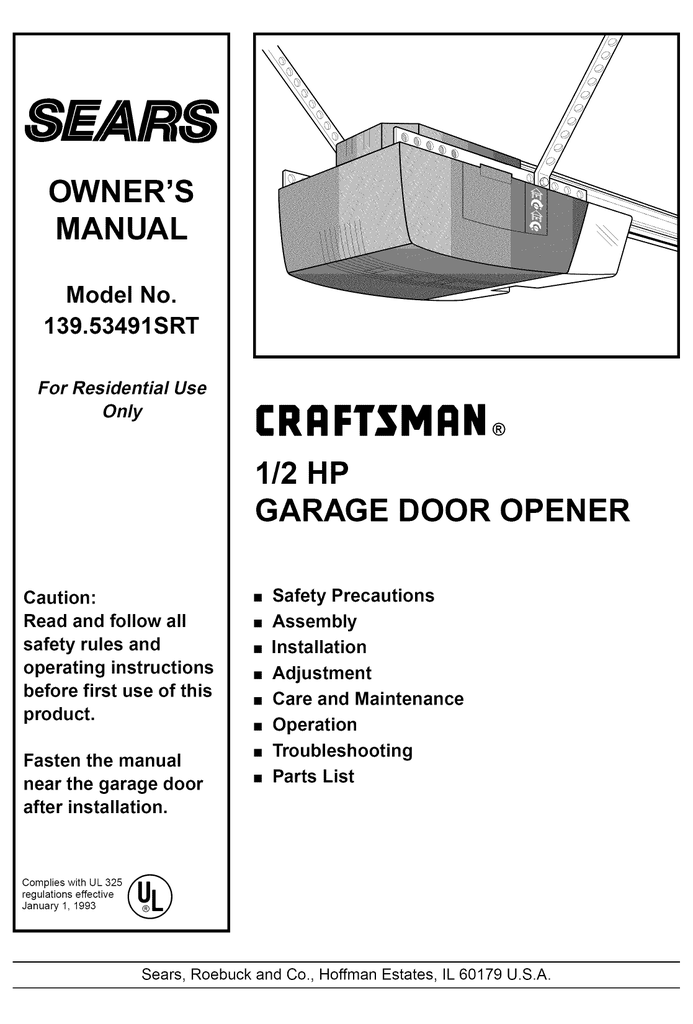 Sears Craftsman 1 2 Hp Garage Door Opener Owner S Manual