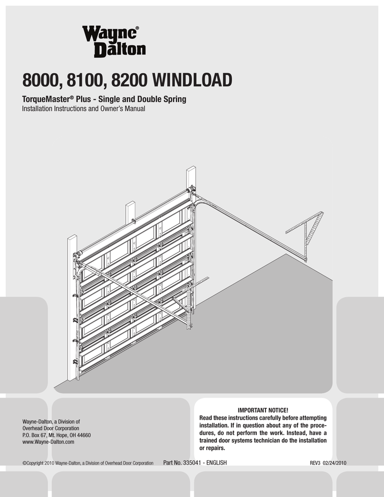 hight resolution of wayne dalton 8000 series owner s manual