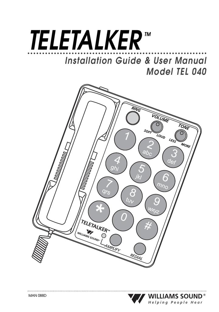Williams Sound TeleTalker TEL 040 Installation guide