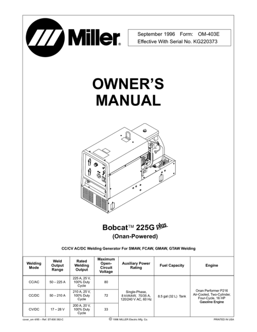small resolution of miller electric bobcat 225g owner s manual